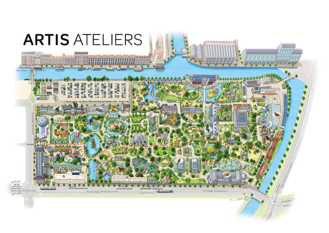Plattegrond met looproute naar ARTIS-Ateliers